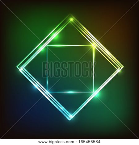 Abstract colorful glowing background with squares stock vector