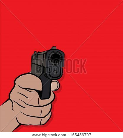 A person pulling the trigger on a pistol handgun illustration. Vector EPS 10 available.