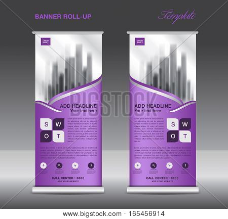 Purple Roll up banner template vector, flyer, advertisement, x-banner, poster, pull up design, display, vector illustration