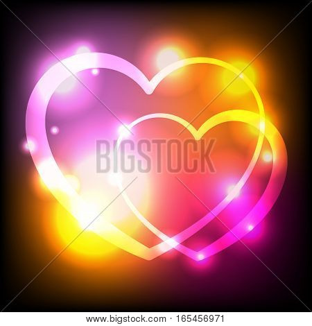 An abstract illustration of two interlocked hearts with glowing lights. Vector EPS 10 available.