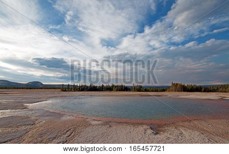 Turquoise Pool in the late afternoon in the Midway Geyser Basin in Yellowstone National Park in Wyoming USA