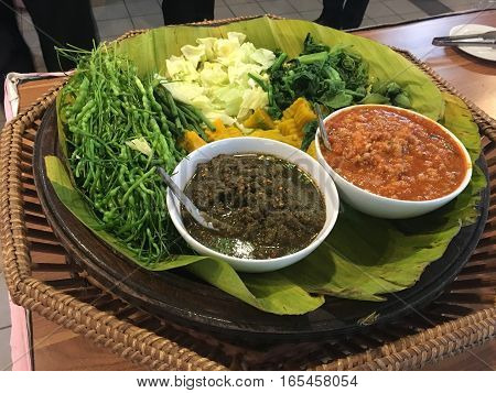 Spicy Northern food of thailand with vegetable around