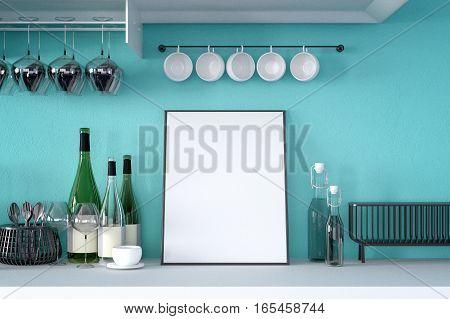 3d rendering : illustration of white mock up frame. hipster background. mock up white poster or picture frame. kitchen room interior.