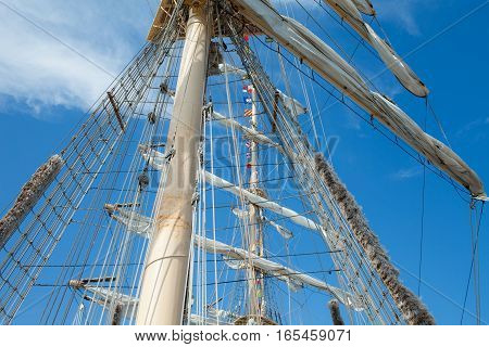 Mast and rigging system of old galleon.