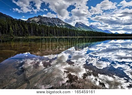 Reflection of clouds and trees in clear water of mountain lake. Honeymoon lake in Canadian Rockies. Jasper National Park. Alberta. Canada.