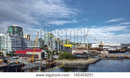 City,  Residential District, Apartment buildings, new constructions and port of North Vancouver