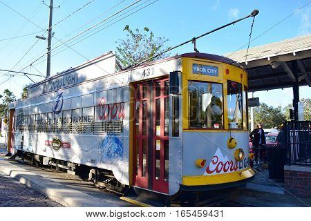 Tampa, Florida - Usa - January 08, 2016 :  Street Car