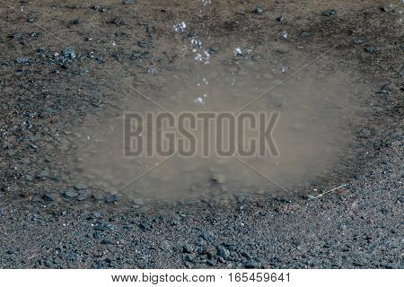 A closeup of a solitary puddle on a dirt road.