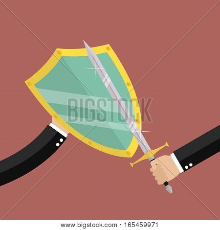 Businessman with shield protecting attact of enemy. Business concept