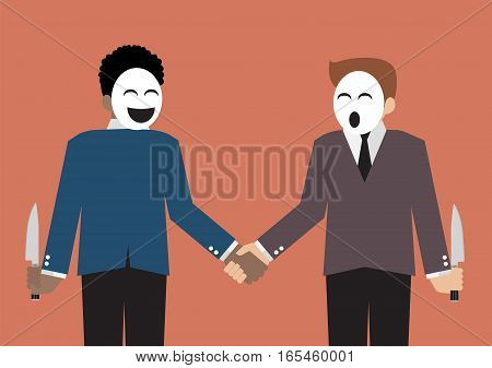 Fake businessmen hiding the knife for betrayal of business partner. Business concept