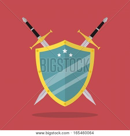 Swords and shield flat style. Vector illustration
