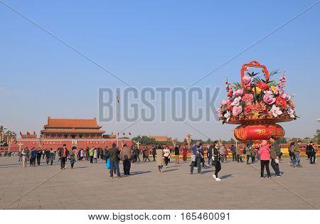BEIJING CHINA - OCTOBER 29, 2016: Unidentified people visit Tiananmen Square.