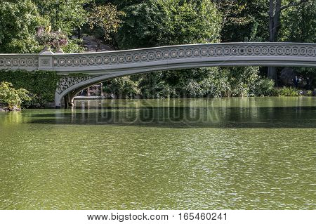 A view of the Bow Bridge in Central Park.