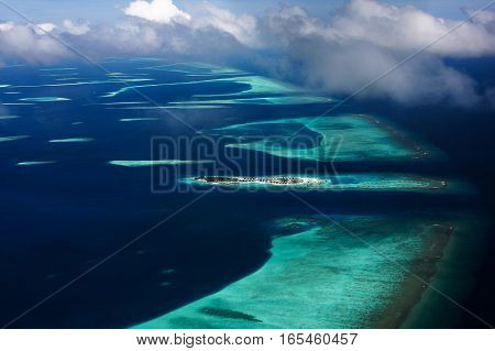 An aerial view of an atoll in Maldives.