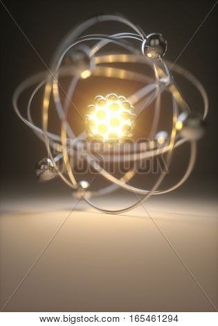 3D illustration, concept image of a nuclear atomic model with nuclear fusion.