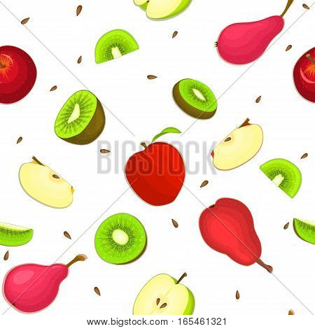 Seamless vector pattern of ripe apple kiwi pear fruit. White background with delicious juicy pears kiwifruit apples slice half. Vector fresh fruit Illustration for printing on fabric, textile design