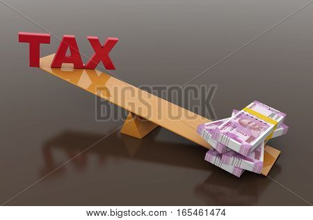 Tax Concept with Indian Currency - 3D Rendered Image