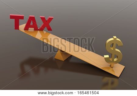 Tax Concept with Dollar symbol - 3D Rendered Image