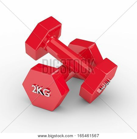 3D Rendering Of Two Red Dumbbells Over White