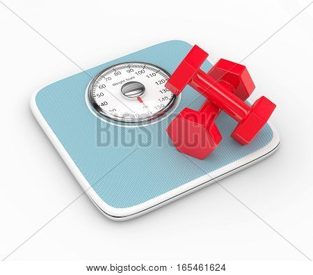 3D Rendering Of Weight Scale And Dumbbells Over White