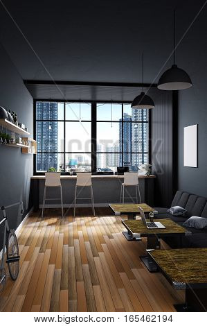 3D Rendering : illustration of coffee cafe decoration interior or pc office of computer worker interior.modern loft cafe style.city view out side. worked at cafe