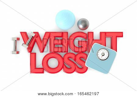 3D Rendering Of Weight Loss Text With Dumbbells, Weight Scale And Exercise Ball