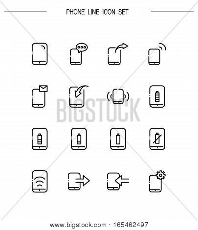 Phone flat icon set. Collection of high quality outline symbols for web design, mobile app. Vector thin line icons or logo of phone