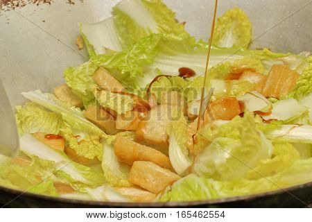 Cooking , Fried Chinese Cabbage With Tofu.