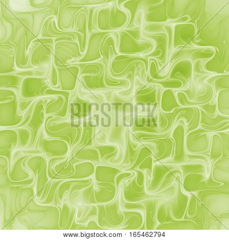 Abstract Glowing Green Waves. Psychedelic Fractal Texture. Digital Art. 3D Rendering.
