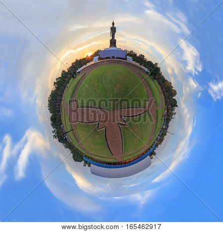 Circle Panorama view of public park with big Buddha statute in sunset time