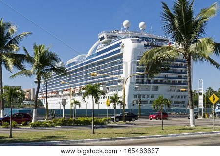 Large cruiseship docked in Puerto Vallarta Mexico