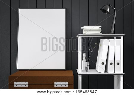 3d rendering : illustration of white mock up frame. hipster background. mock up white poster or picture frame. living room interior.close up decoration with frame. copy space. clipping path included