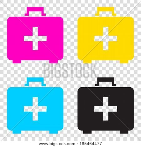 Medical First Aid Box Sign. Cmyk Icons On Transparent Background