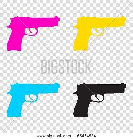 Gun Sign Illustration. Cmyk Icons On Transparent Background. Cya