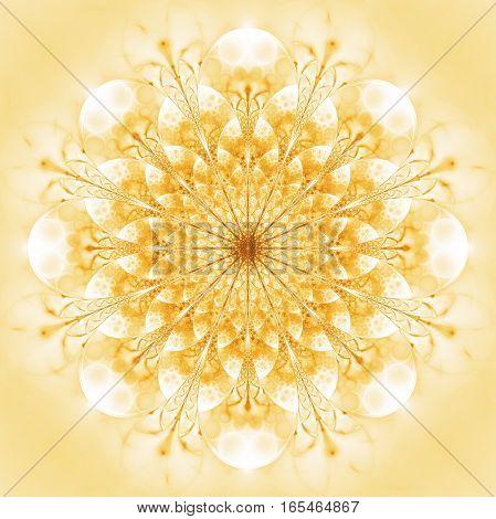 Abstract Exotic Golden Flower. Psychedelic Mandala Design In Golden Colors. Fantasy Fractal Art. 3D