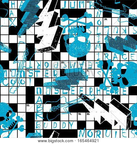 Crossword puzzle with skulls and lightning bolts .