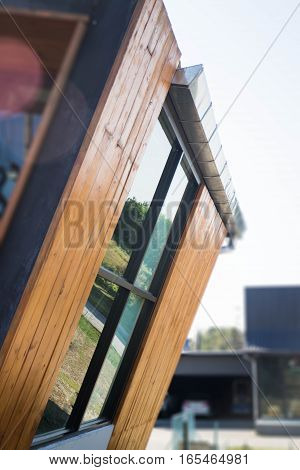 Exterior of wood and glass window stock photo