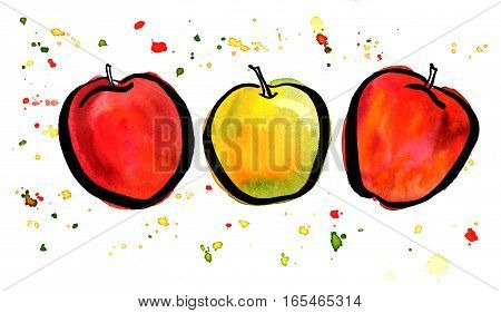 Three bright watercolour and ink apples with splashes of paint on a white background