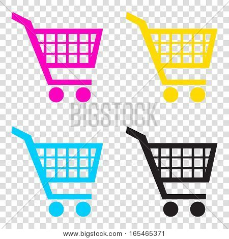 Shopping Cart Sign. Cmyk Icons On Transparent Background. Cyan,
