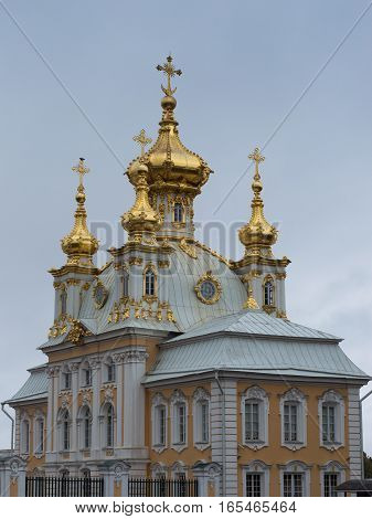 The dark yellow and white exterior of the Imperial Chapel with golden onion domes topped with Orthodox crosses.  The Russian Orthodox Church is part of Peterhof, Peter the Great's summer palace.  Located near St. Petersburg Russia