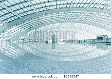 modern hall of subway station  at T3 airport in beijing china.
