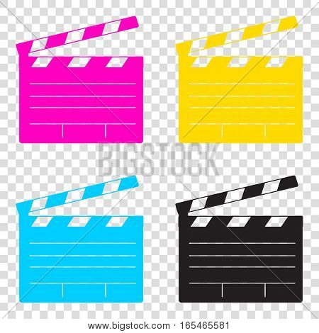 Film Clap Board Cinema Sign. Cmyk Icons On Transparent Backgroun
