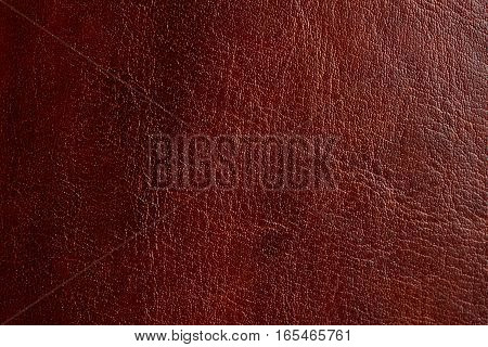 Brown leather texture background closeup. Vitnage orange skin surface