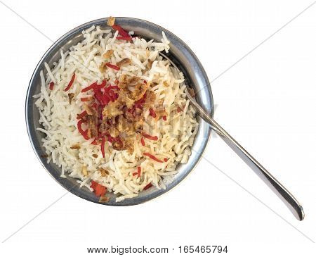 An overhead photo of a bowl of traditional Indian rice in a typical bowl, isolated on white