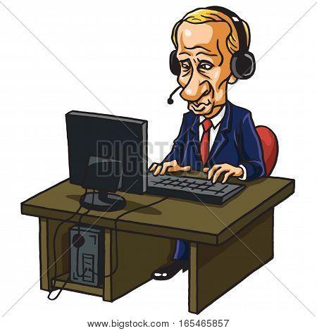 Vladimir Putin in Front of His Computer. Cartoon Caricature Vector Illustration. January 16, 2017
