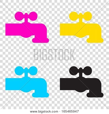 Water Faucet Sign Illustration. Cmyk Icons On Transparent Backgr