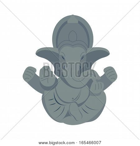 India elephant budda isolated on white. Baby animal indian zoo vector illustration. Nature mammal, trunk wildlife safari big tusk. Large strong zoo character.