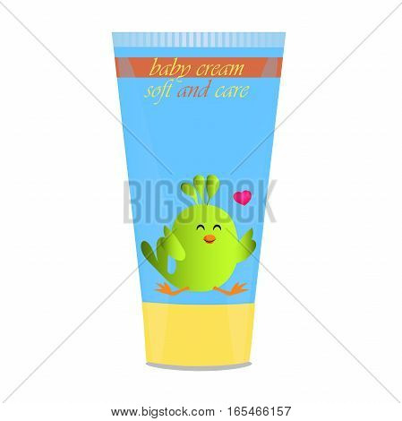 High quality original trendy vector Baby cream tube with kids design and bird illustration