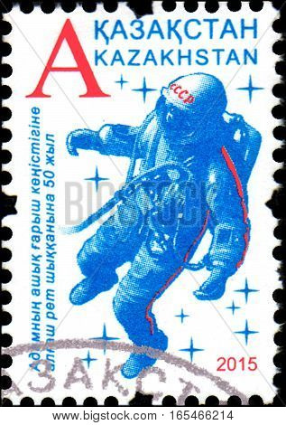 KAZAKHSTAN - CIRCA 2015: Stamp printed in Kazakhstan devoted 50th anniversary the first outing human spacewalk