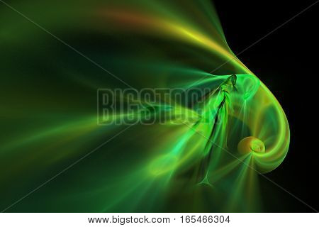 Abstract green and yellow smoky shapes on black background. Fantasy fractal texture. 3D rendering.